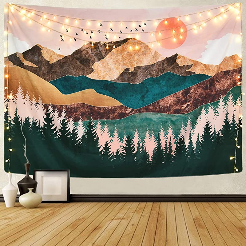 Sevenstars Mountain Tapestry Forest Tree Tapestry Sunset Tapestry Nature Landscape Tapestry Wall Hanging For Room 59 1 X 82 7 Inches