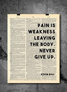 Kevin Bull - Pain Is Weakness Leaving The Body - Vintage Quotes - Authentic Upcycled Dictionary Art Print - Home or Office Decor - Inspirational And Motivational Quote Art