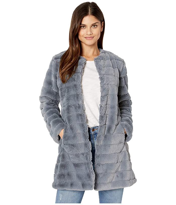 BB Dakota  Anything For You Grooved Faux Fur Coat (Iris Blue) Womens Coat