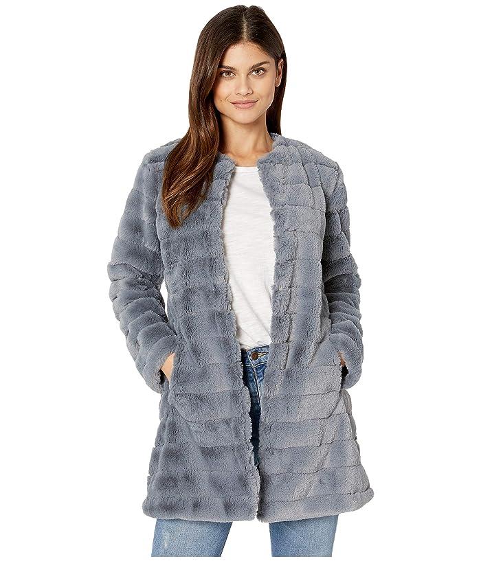 BB Dakota  Anything For You Grooved Faux Fur Coat (Iris Blue) Womens Coat