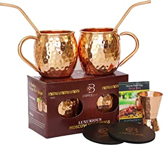 Moscow Mule Copper Mugs - Set of 2-100% HANDCRAFTED - Food Safe Pure Solid Copper Mugs - 16 Oz Gift Set with 2 Highest Quality Cocktail Copper Straws, 1 Jigger and 2 Coasters