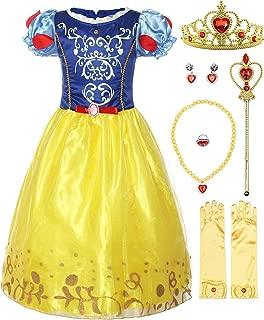 ReliBeauty Girls Puff Sleeve Fancy Dress Princess Snow White Costume