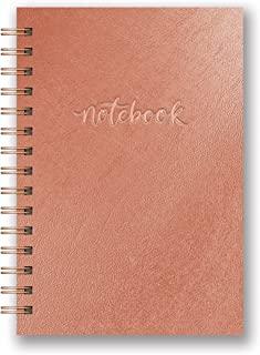 Studio Oh! Hardcover Leatheresque Spiral Notebook Available in 10 Colors, Metallic Rose Gold