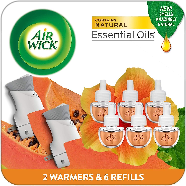 Air Wick Plug in Scented Oil Starter Kit, 2 Warmers + 6 Refills, Hawaii, Essential Oils