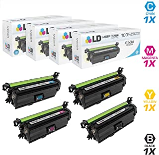 LD Compatible Replacements for HP 653X/653A 4PK Toners: 1 CF320X HY BLK, 1 CF321A C, 1 CF322A Y & 1 CF323A M