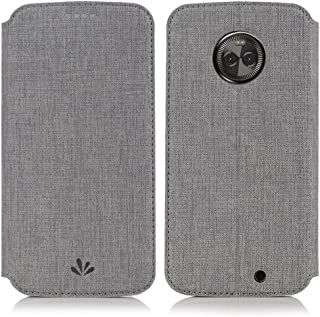 Simicoo Moto X4 Flip PU Leather Slim Fit case Card Holster Stand Magnetic Cover Clear Silicone TPU Full body Shockproof Pocket Thin Wallet Case for Moto X 4th Generation (Grey, Moto X4)