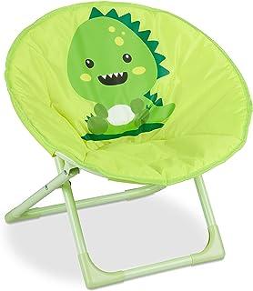 Relaxdays Moonchair Chaise de Lune Pliable pour Enfant pour l'intérieur et l'extérieur Motif Monstre 48,5 x 51 x 48 cm Jau...