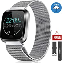 CatShin Fitness Watch Heart Rate Monitor IP68 Fitness Tracker Waterproof Pedometer Calroies Counter Sleep Monitor Remote Camera Control Message Notification Sports Smartwatch for Android iOS (Silver)