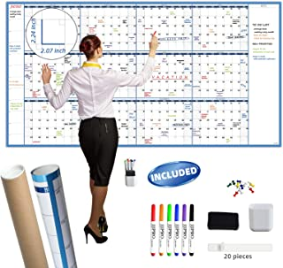 "Large Dry Erase Wall Calendar - 38"" x 72"" - Undated Blank 2020-2021 Reusable Yearly Calendar - Giant Whiteboard Annual Pos..."