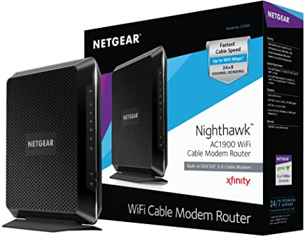 $134 Get NETGEAR Nighthawk AC1900 (24x8) DOCSIS 3.0 WiFi Cable Modem Router Combo (C7000) Certified for Xfinity from Comcast, Spectrum, Cox, & more