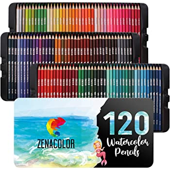 120 Lapices Acuarelables Zenacolor, Numerados, con Caja - Set de Lápices de Colores para Acuarela - 120 Lapices de Colores Profesionales, Solubles y Diferentes: Amazon.es: Hogar