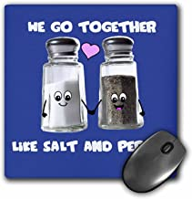 3dRose We Go Together Like Salt and Pepper, Cute Smiling Cartoon Condiments Shakers in Love, Navy Blue Mouse Pad (mp_58328_1)