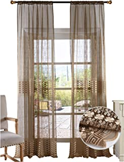 BW0057 Retro Chinese Style Clover Embroidered Sheer Curtain Window Treatment Transparent Rod Pocket for Bedroom Living Room (1 Panel, W 50 x L 63 inch, Brown) 1300760C1BYHBN15063-8516
