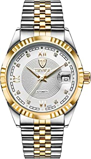 Tevise Casual Watch Analog Stainless Steel Band for Men, Gold, 629-003GW