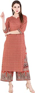 Harshana Womens Cotton Kurta with Palazzo - Printed, Calf Long, Straight Kurtas for Casual Wear