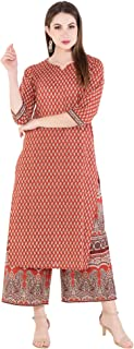 Harshana Women's Cotton Printed Kurta With Palazzo set, Red