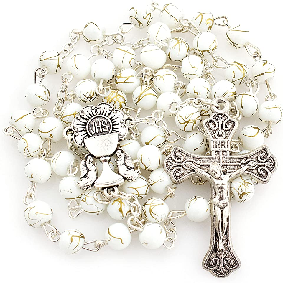 Catholic White Marbled First Communion Rosary With White and Gold Marbled Round beads Beads, Silver Tone Chalice Centerpiece Detailed Silver Crucifix