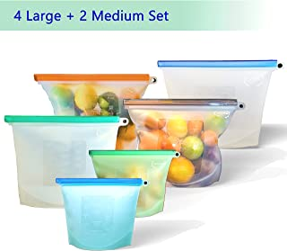 Reusable Silicone Food Storage Bags, Airtight Zip Top Containers for Vegetable, Baby Food, Fruit, Meat, Lunch, Snack. Quart Bags for Coolers/Fridge/Freezer. Zero Waste, FDA Grade (6, 2-Medium 4-Large)