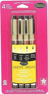 Sakura Pigma 50040 Micron Blister Card Ink Pen Set, Sepia, Pigma 4CT Set