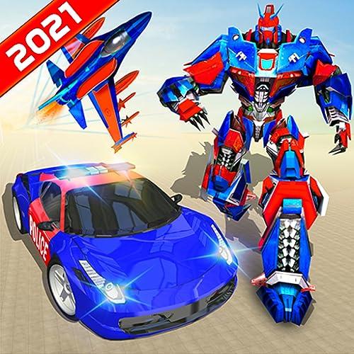 Miami Crime City Mega Flying Air Jet Transform Robot Car Simulator: Ultimate Robot War 3D Juegos 2021