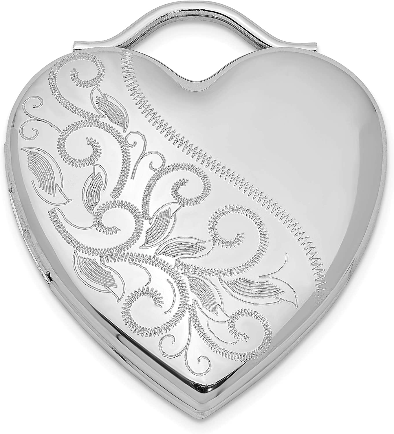 Sterling Silver NEW 24mm Etched Locket Heart Max 52% OFF