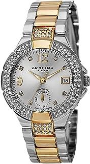 Akribos XXIV Women's Swiss Quartz Diamond Markers Dual Time Bracelet Watch