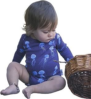 Dusty Road Apparel Organic Baby Onesies | Long Sleeve Onesie | Jelly Fish | 000-1