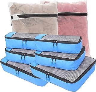 8 Sets Packing Cubes Travel Luggage Organizer w/Mesh Laundry Bag (Blue)