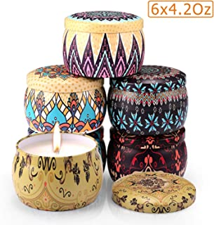 Arosky 6 x 4.2 Oz Pack of 6 Scented Candles Natural Soy Wax Portable Travel Tin Aromatherapy Candle Gift Set - Jasmine/Lotus/Lilac/Gardenia/Rose/Vanilla Fragrance