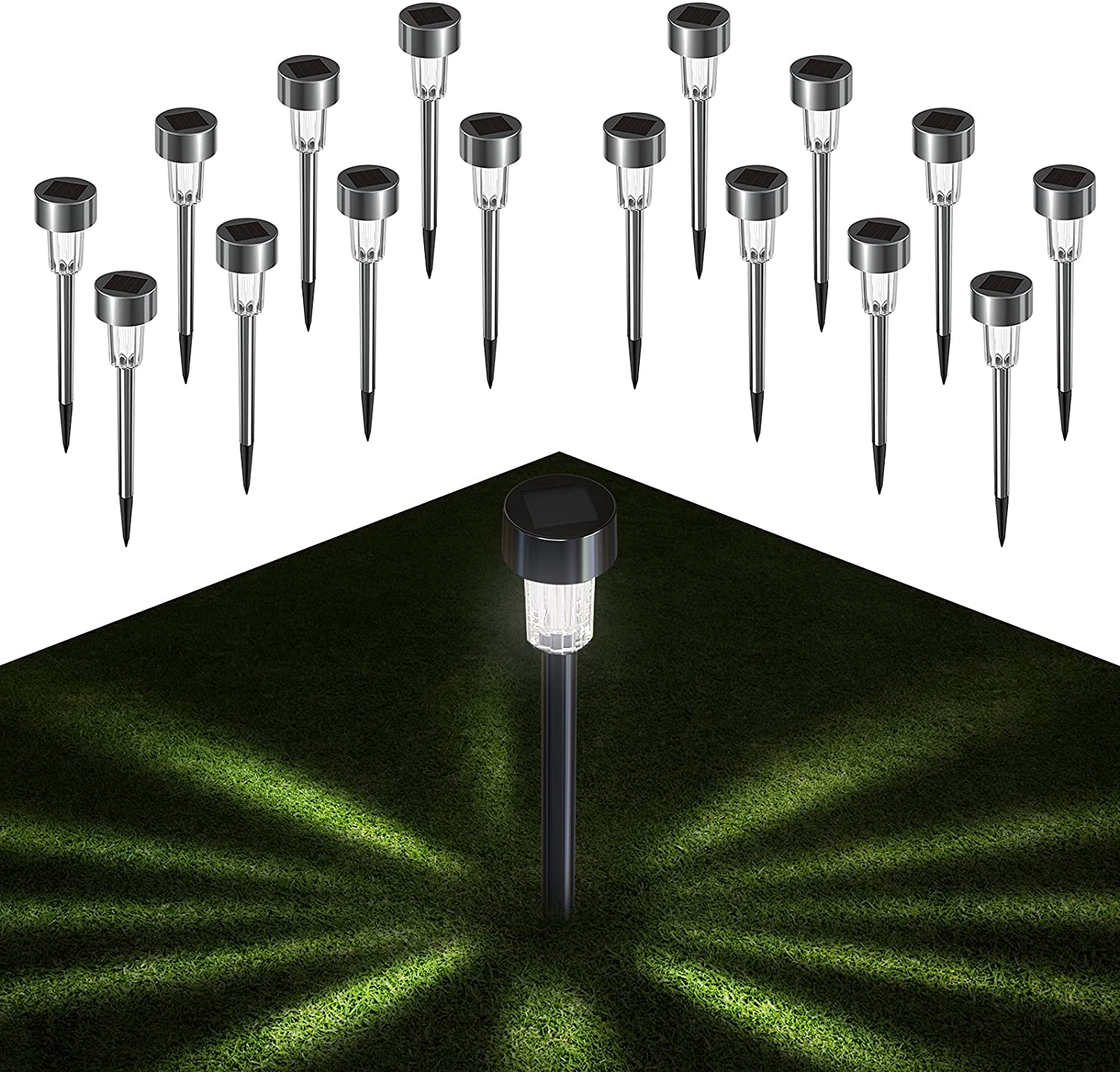 Quntis Solar Pathway Lights Outdoor 16Pack Waterproof Solar Powered Garden Lights - Stainless Steel LED Solar Path Lights Landscape Lighting for Yard Lawn Porch Walkway Driveway, 10 Lumen Cool White