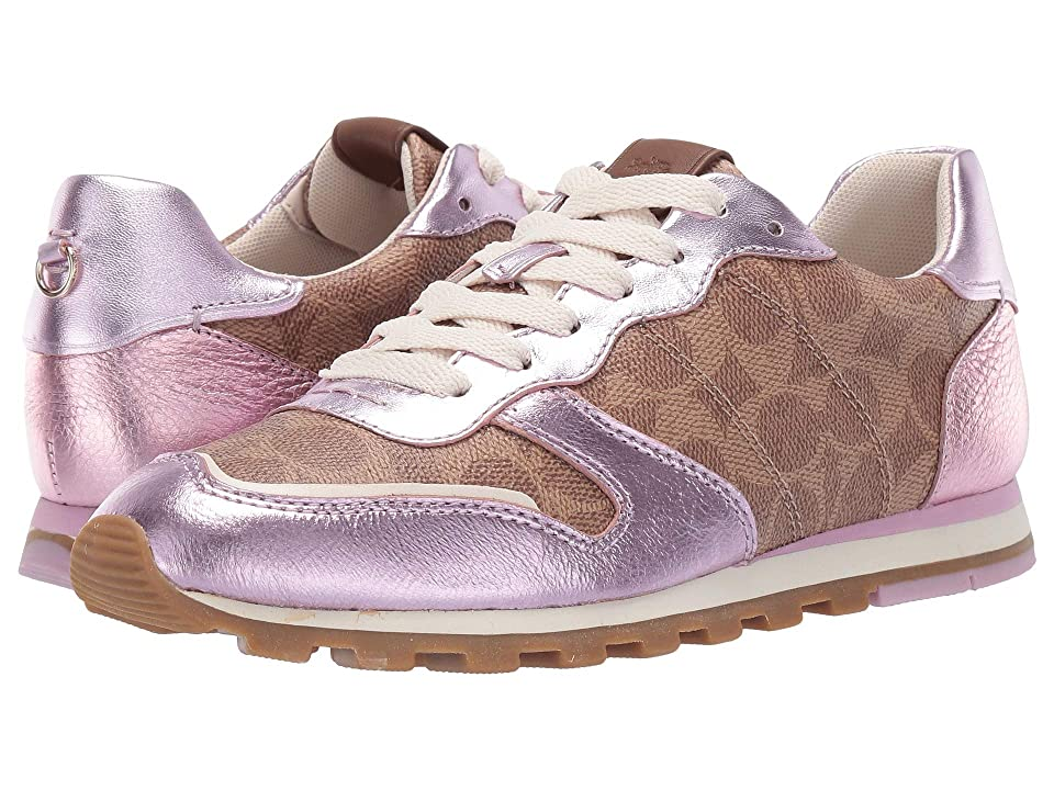 COACH C118 Runner with Signature Coated Canvas with Metallic (Tan/Pink) Women