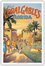 Pacifica Island Art Visit Coral Gables - Florida - Venetian Pool - Vintage Style World Travel Poster by Kerne Erickson - Master Art Print - 12 x 18in