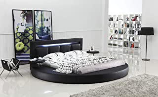 Oslo Round Bed with Headboard Lights Queen Size (Black).