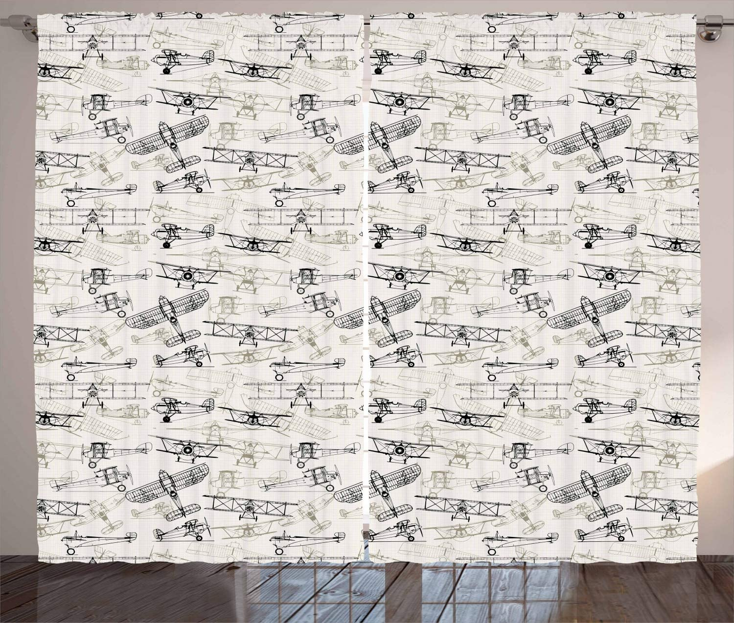 Ambesonne Airplane Curtains Old Fashioned Hand Transportation shop D Popular overseas