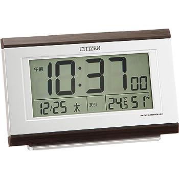 リズム(RHYTHM) 目覚まし時計 茶 8.9x13.5x4.4cm シチズン 目覚まし 電波 デジタル 温度 湿度 カレンダー 8RZ161-006
