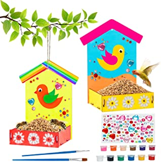 Wooden Arts and Crafts for Kids, 2-Pack Make Your Own Bird Feeder Painting Kit with Diamond Stickers, Educational Fun Kids...