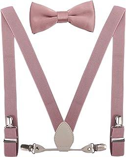 YJDS Men's Boys' Leather Suspenders and Bowtie Set Elastic for Wedding