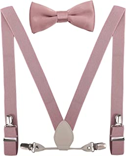 Men's Boy's Leather Suspenders and Bow Tie Set Elastic for Wedding