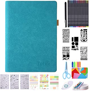 Bullet Dotted Journal Kit, Tebik A5 Loose Leaf Leather Journal with 240 Pages,15 Colored Pens,Reusable Stencils,Stickers,Tapes,Scissors,Colorful Paper for Journal Planner Art Office School Supplies