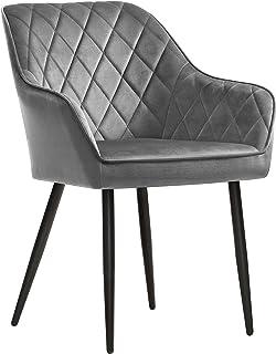 SONGMICS Chaise de salle à manger, Fauteuil, Siège rembourrée, avec accoudoirs, largeur d'assise 49 cm, pieds en métal, re...