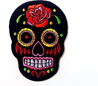 Tyga_Thai Brand Mexican Sugar Skull Tattoo Dead Head Black Color Biker Embroidered Applique Sew on Iron on Patch (Mexican-...