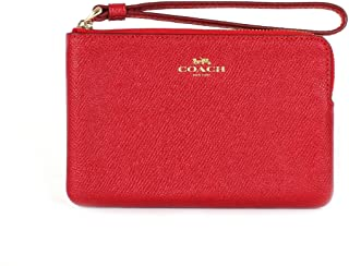 Coach Crossgrain Leather Corner Zip Wristlet True Red