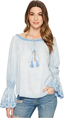 Michael Stars - Linen Denim Tencel Frilled Top