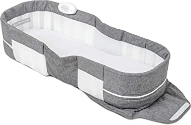 Baby Delight Snuggle Nest Harmony Portable Infant Lounger   Charcoal Tweed   Unique Patented Design   Baby Lounger