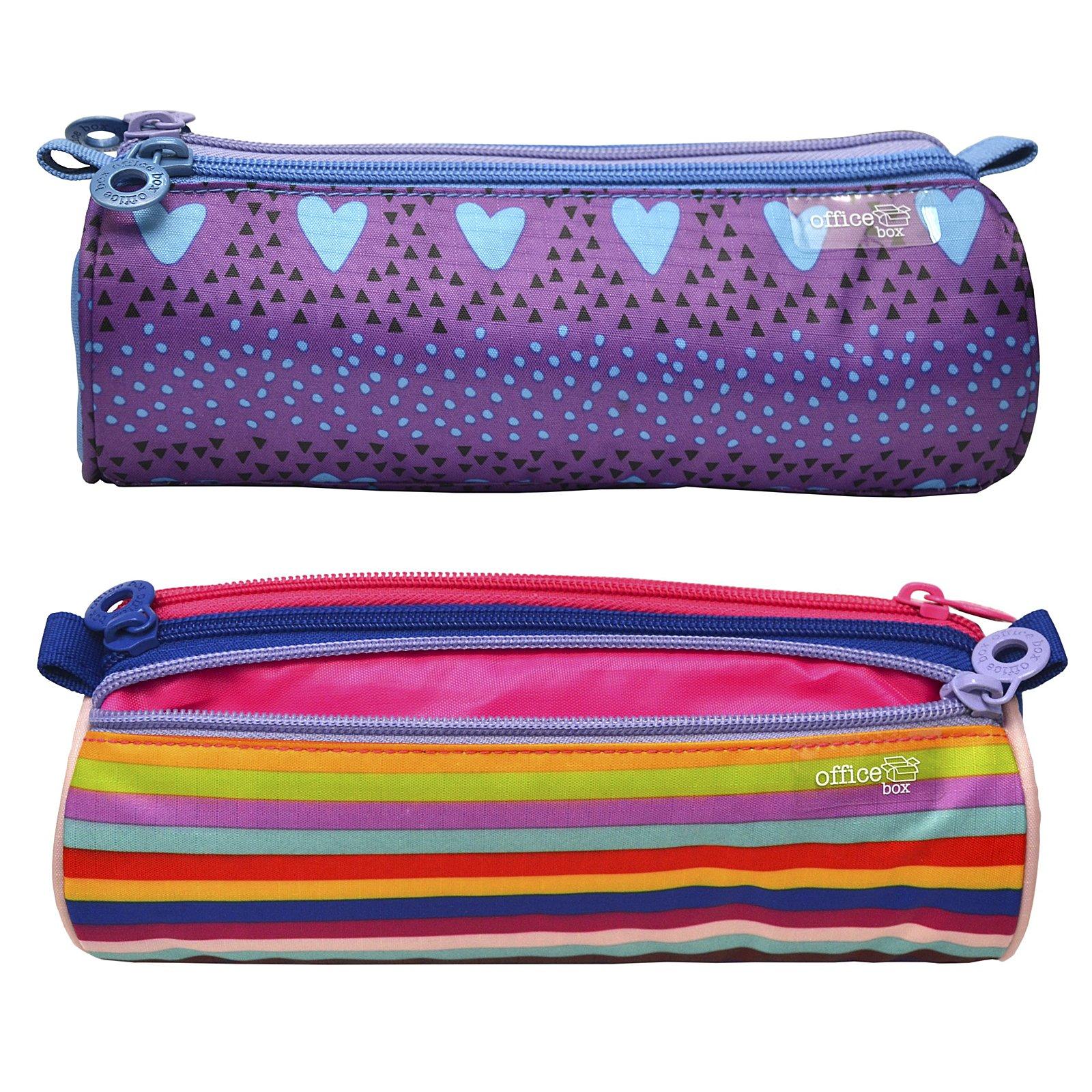 Colorline 59502 - Portatodo Triple Redondo de Amplios Apartados Interiores, Estuche Multiuso para Material Escolar. Diseño Girls Stripes, Medidas 22.5 x 8 x 8 cm: Amazon.es: Oficina y papelería