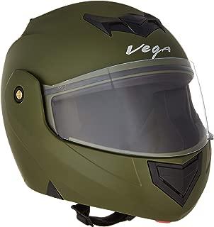 Vega Crux DX Flip-Up Helmet (Dull Battle Green, Large)