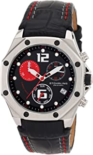 Stuhrling Original Women's 231CR.111564 Aquadiver Nemo Swiss Quartz Chronograph Swarovski crystal Date Black Leather strap Watch