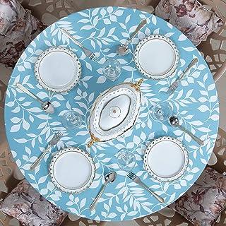 غطاء طاولة من الفينيل بتصميم دائري للأماكن الداخلية والخارجية من Juju World بلون أزرق سماوي (كبير 114.3 سم - 142.2 سم)