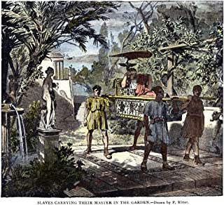 Slavery Ancient Rome Nslaves Of Ancient Rome Carrying Their Master In The Garden Wood Engraving 19Th Century Poster Print ...