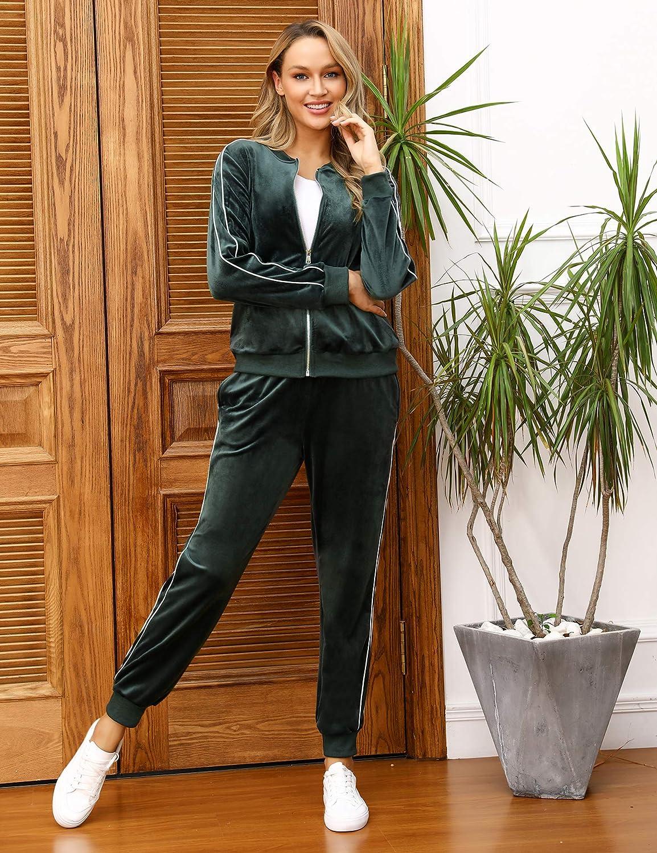 Pantalon de Jogging Femme avec 2 Poches Taille Grande Irevial Surv/êtement Femme Velour Tenue de Sport Femme 2 Pi/èces Sweatshirt /à Zipp/é avec 2 Poches